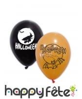 10 Ballons Halloween oranges et noirs de 30 cm