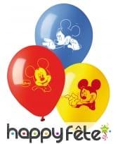 10 Ballons imprimé Mickey Mouse, 28 cm