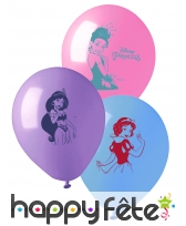 10 Ballons imprimé Princesses Disney, 28 cm