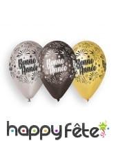 10 ballons imprimés bonne année, 30cm