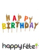 13 Bougies lettres Happy birthday de 6cm