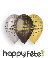 10 ballons métallisé joyeux anniversaire, 30cm