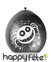 10 Ballons noirs gentille araignée