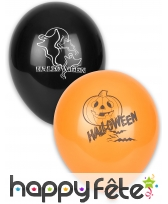 12 Ballons noirs et orange avec motif Halloween