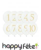 10 Ballons ronds imprimé chiffre de 1 à 10, image 1