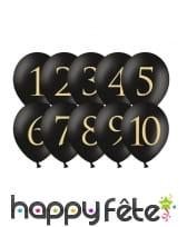 10 Ballons ronds imprimé chiffre de 1 à 10, image 2