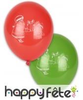 10 ballons rouges et verts papa Noël