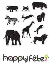 10 Décorations cartonnées d'animaux de la savane