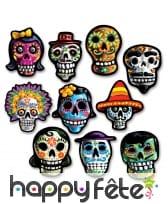 10 décors Dia de los Muertos en carton de 12cm