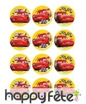 12 Décos pour biscuits Cars de 6 cm en amidon