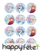 12 Décos pour biscuits La Reine des Neiges de 6 cm