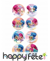 18 disques Shimmer & Shine friends en sucre 3,4cm