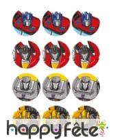 12 Décorations Transformers en sucre de 5,8 cm