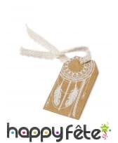 10 Etiquettes Kraft imprimé plumes blanches