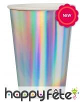 10 Gobelets argentés iridescents en carton