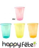 10 gobelets colorés en plastique transparent