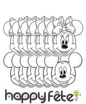 12 masques de Mickey et Minnie à colorier