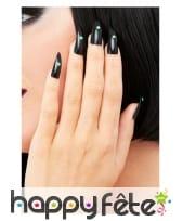 12 Ongles noirs de sorcière avec strass, adhésifs