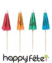 12 Parasols à cocktail colorés en bois de 10 cm