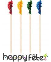 12 Piques colorés en bois de 6 cm