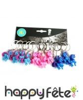 12 porte clés licorne de 3 couleurs assorties, 4cm