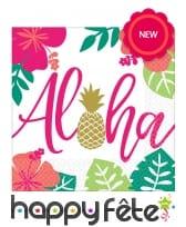 16 Serviettes Aloha colorées, en papier