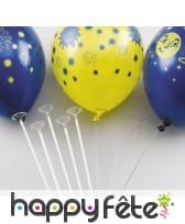 100 Tiges en plastiques pour ballon avec coupelles