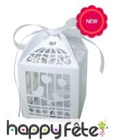 20 boites blanches pour dragées cage à oiseaux