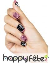 24 faux ongles motif chat, rose noir, image 1