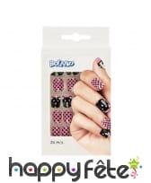 24 faux ongles motif chat, rose noir