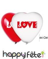2 grands ballons coeur love blanc-rouge, 44cm
