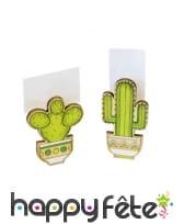 2 marques places cactus verts en bois de 6 cm