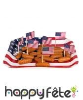 24 petits drapeaux USA apéritif sur pique