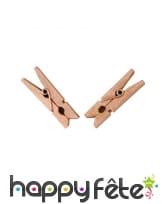 25 petites pinces à linge roses bois métallisé 3cm