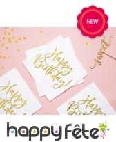 20 Serviettes blanches imprimé Happy Birthday doré, image 1