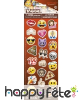 24 Stickers émoticones autocollants