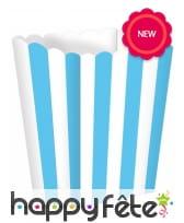 3 Boîtes à popcorn rayées blanc bleu