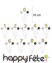 3 bougies chiffre d'anniversaire sur tige, 16cm