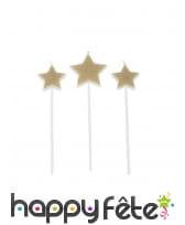 3 Bougies en forme d'étoile dorées de 11 cm