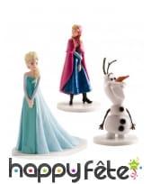 3 Figurines déco pour gâteau d'Anna, Olaf et Elsa