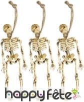 3 squelettes pendus de 15cm