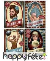 4 affiches Vintage de cirque