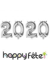 4 Ballons argent nouvel an 2020, 40cm