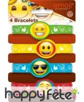 4 Bracelets en caoutchouc émoticones, image 2