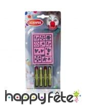 4 crayons de maquillage avec pochoir
