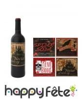 4 étiquettes Halloween pour bouteille