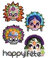 4 Masques Dia de los muertos de déco