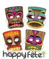 4 Masques Tiki de 25cm