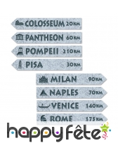 4 panneaux de villes romaines 2 faces, 9.5 x 60 cm