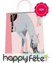 4 Sacs cadeaux décoré d'un cheval sur fond rose